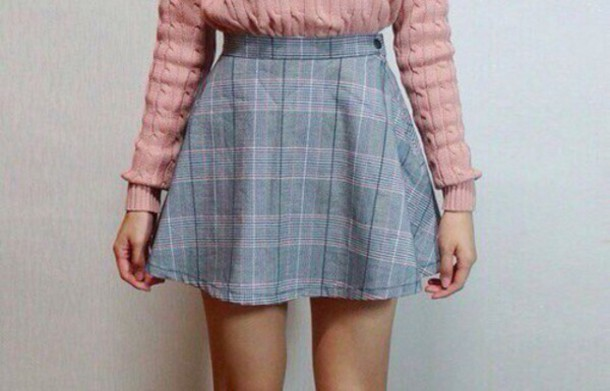 Skirt: short skirt, denim, denim skirt, sweater, cute sweater ...
