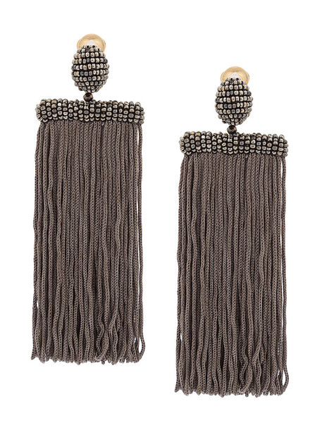 oscar de la renta tassel women earrings silk grey metallic jewels