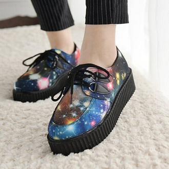 shoes creepers galaxy print cool trendy lace up grunge boogzel