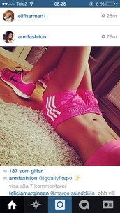 shoes,adidas,neon,pink,neon pink,shorts,style,summer