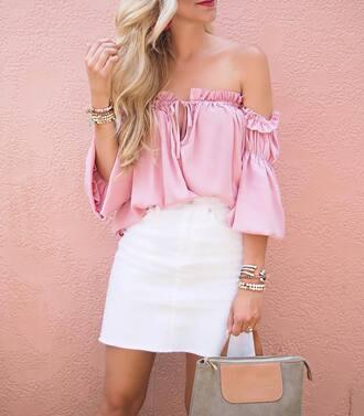 top tumblr pink top off the shoulder off the shoulder top skirt mini skirt white skirt bag grey bag bracelets accessories accessory jewels