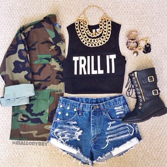t-shirt jacket dress jewels gold gold chain shorts shoes camo jacket tank top shirt black trill it camouflage combat boots trill army long sleeve jacket denim shorts black boots blouse graphic tee gold jewelry high waisted shorts