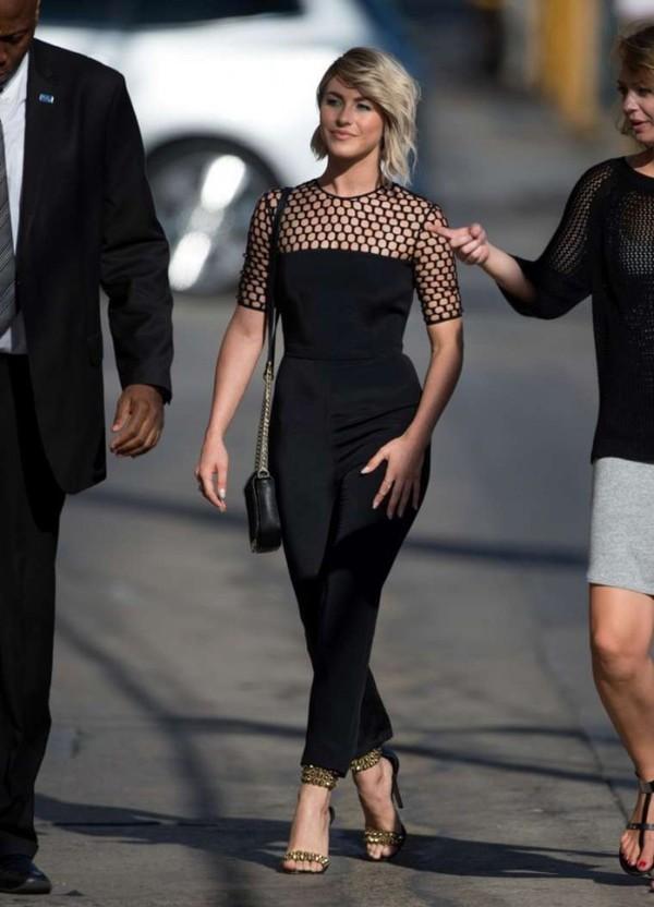 jumpsuit julianne hough black sandals high heels shoes