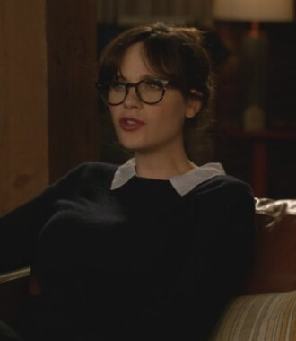sweater navy collared new girl jessica day zooey deschanel
