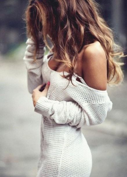 dress knitwear knitted sweater blouse blonde hair cute pretty white sweater knitted dress sweater dress