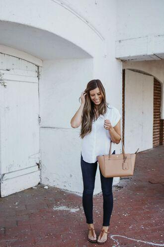 mint arrow blogger blouse leggings jeans shoes bag