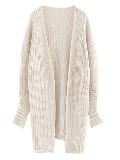 Beige knit longline cardigan with side split