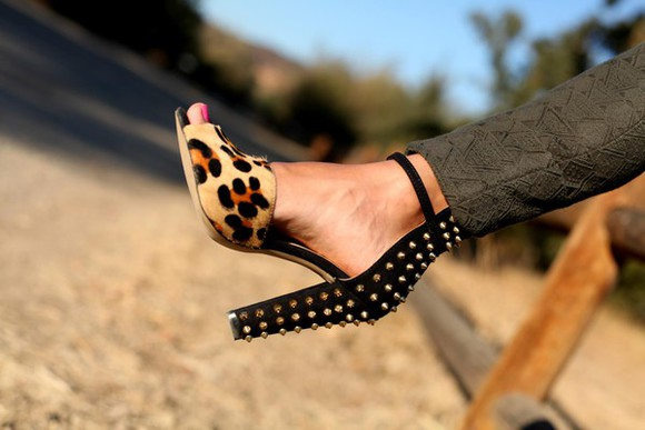 shoes studded shoes leopard print