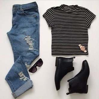 t-shirt gold black boots boots shirt striped shirt stripes monochrome black and white black crop top white t-shirt white top white shirt sunglasses black glasses glasses indie hipster denim blue skinny jeans ripped jeans watch rose gold roll up jeans jeans
