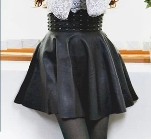 2014 summer new arrival girl's saias fashion women's rivets leather skirts sk00445