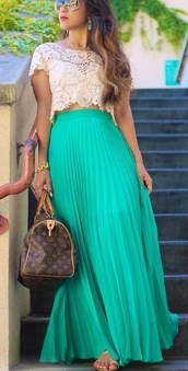 blouse,cream shirt,lace shirt,short shirt,beautiful,blue skirt,long skirt,flowy skirt,skirt,bag,jacket,t-shirt,shirt,dress,louis vuitton,tiffany blue maxi shirt,teal,maxi skirt,lace,handbag,sunglasses,maxi,maxi dress,bright color,green,london blue,tank top,crochet top,lace blouse,clothes,lace crop top,tourquoise,blue,pleats,long,turquoise,pleated skirt,high waisted,tumblr,see through,crop tops,top,mermaid color,lace dress,white,aqua,pinterest,lace top,jewels,chiffon pleated skirt,summer outfits,party,sun,beach,classy,necklace,style,crochet,white t-shirt,white crop tops,outfit,streetstyle,green skirt,teal dress,mesh skirt,alice+olivia,chiffon skirt,neon pink,mint,emboidery,any color,where can i get this top,beautiful green dress,crop,teal skirt,high waisted skirt,outfit idea,white lace