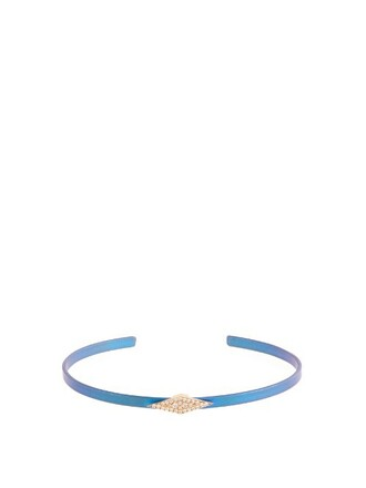 cuff rose gold blue jewels