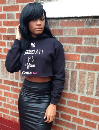 cakehoe black black crop top hoodie hoodie crop top streetwear bad bitches link up cotton