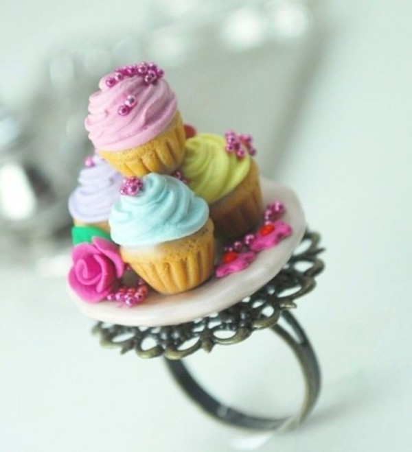 jewels purple mint yellow pink cupcakes ring