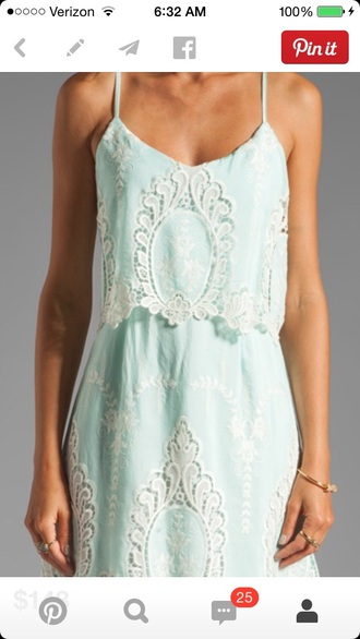 mint light blue embroidered casual sundress fitted waist loose spaghetti straps