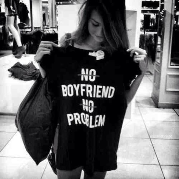 t-shirt black boyfriend tshirt no boyfriend no problem shirt black shirt top t-shirt
