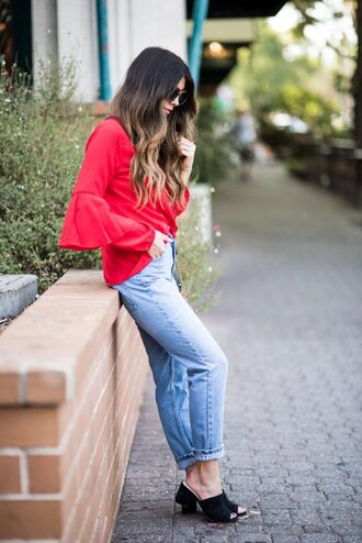 top tumblr red top bell sleeves denim jeans blue jeans mules shoes black shoes sunglasses