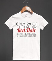 t-shirt,red hair,redhead,ginger,hair,unicorn,red