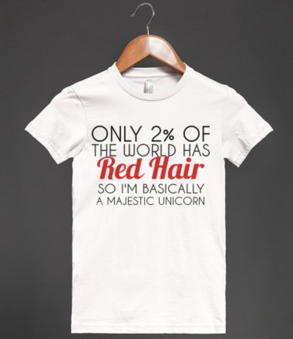 t-shirt red hair redhead ginger hair unicorn red