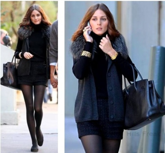 olivia palermo beautiful jacket shorts jackets fourrure, black, hiver, froid bracelets