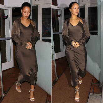 dress maxi dress brown brown dress rihanna sandals shoes