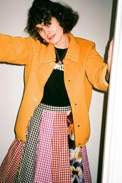 by chill,blogger,jacket,t-shirt,skirt