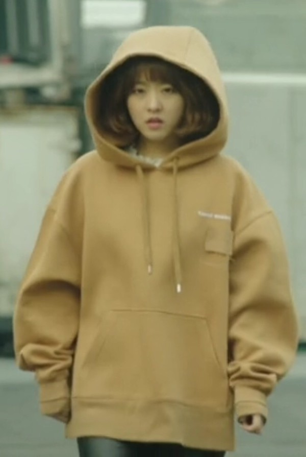 top strong woman do bong soon kdrama park bo young korean fashion cream tan hoodie oversized oversized sweater cute big solid K-pop south korea sweater