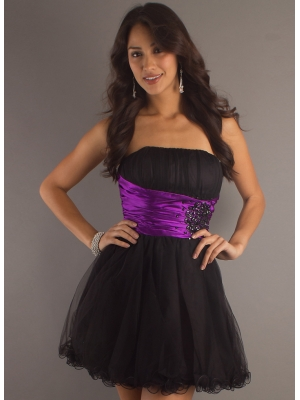 Buy Lovely A-line Strapless Mini Organza Prom Dress with 104.99-SinoAnt.com
