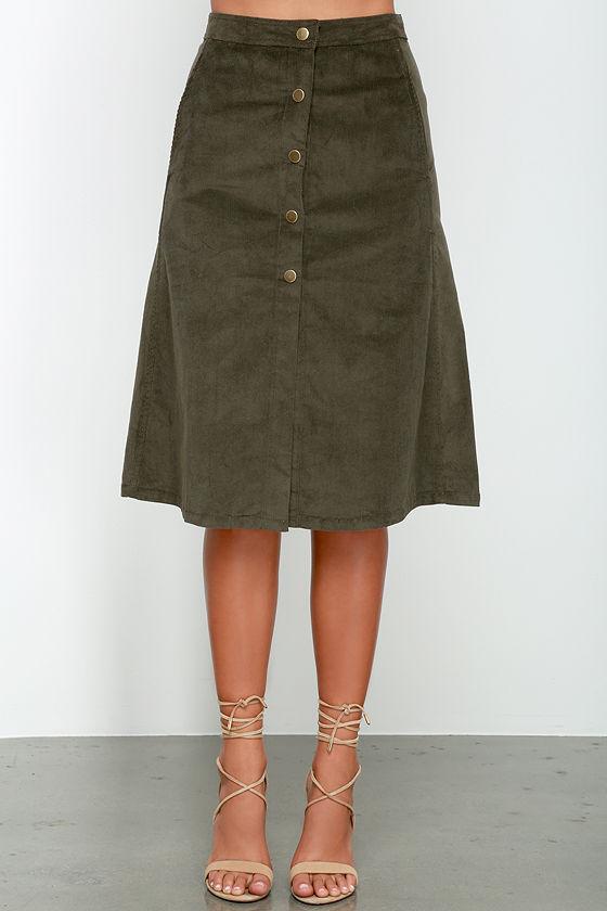 fc90a741c Fairly Certain Olive Corduroy Midi Skirt