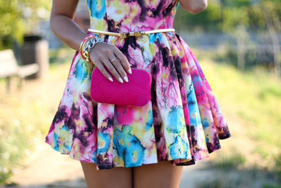 dress cute dress coloful tiedye floral skater dress gold belt skater skirt blouse belt bag nail polish jewels pretty flowers blue pink purple yellow watercolor chic colorful floral print mini dress prom dress prom wish washy high-low dresses blue dress multi colored colorful a line cute vibrant color summer dress