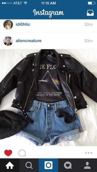 shirt pink floyd band merch band t-shirt jacket leather jacket black grunge