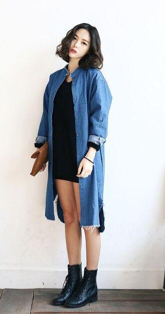 jacket denim jacket denim shirt blue black black top black shirt little black shorts cute korean fashion