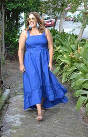 mommyinheels,blogger,dress,shoes,jewels,sunglasses,curvy,blue dress