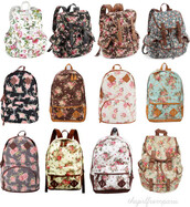 bag,backpack,faux leather,floral,floral backpack,school bag,top right,color pink and black,all,back packs,flowers,leather,light blue,white,black,brown