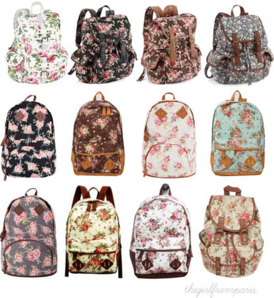 bag backpack faux leather floral school bag