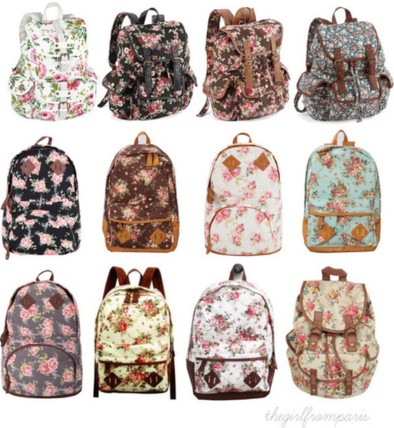 bag backpack faux leather floral school bag