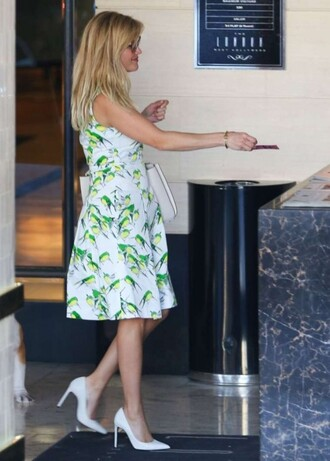 dress floral midi dress reese witherspoon pumps
