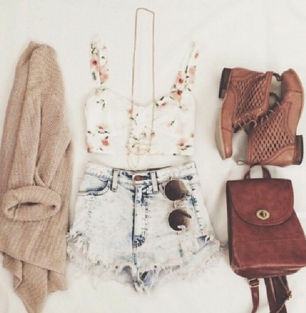 top shorts cardigan sunglasses bag coat hair accessory shirt shoes blouse