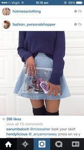 sweater,skirt,denim,jumper,knit,knitwear,style,bag