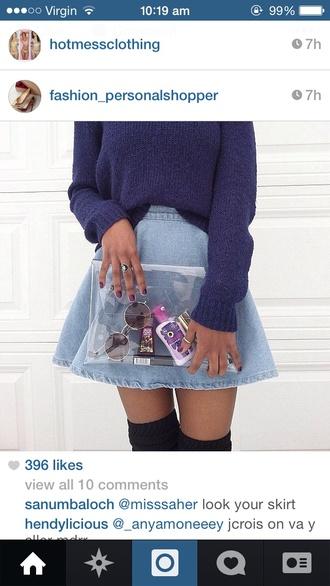 sweater skirt denim jumper knit knitwear style bag