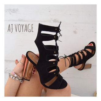 shoes black suede black heels rose gold gold block heels sandals sandals lace up heels high heels high heel sandals