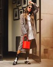 coat,checkered,shirt dress,white dress,cowgirl boots,basket bag,handbag,earrings,aviator sunglasses
