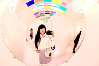 the cherry blossom girl blogger shirt skirt bag shoes