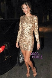 dress,embroided,gold,mini dress,long sleeves,model,alessandra ambrosio
