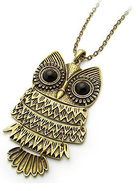 Night Owl Necklace - Antique Gold