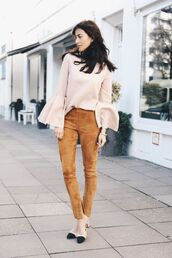 pants,suede pants,camel pants,top,nude top,long sleeves,bell sleeves,bell sleeves top,chanel,chanel shoes,spring outfits,mid heel sandals,cap toe,chanel slingback shoes,bell sleeve top