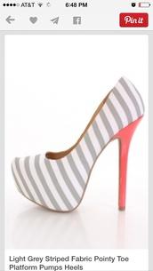 shoes,stripes,pumps,high heels,peach