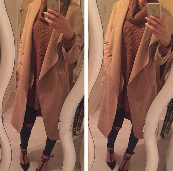 sweater coat sweater knitted top fall colors coffee ootd fall outfits