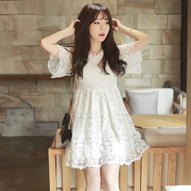 Dress Lace White Chiffon Cute Dress Mori Girl Mori Girl
