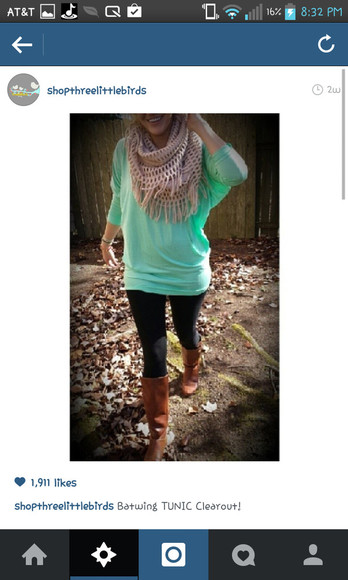 green blouse pants shirt scarf